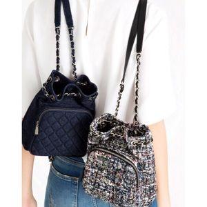 Zara Quilted Mini Denim Backpack NWT